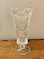 Vtg Anna Hutte Bleikristrall Crystal Vase Clear Glass Sawtooth Edge Daisy Flower