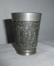 Vintage Rein Zinn German Pewter Cup medieval style design scenes
