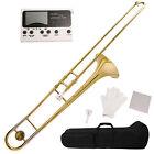 Gold School Band Student Bb Slide Trombone Professional w/Tuner, Case, Care Kit