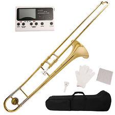 Gold School Band Student Eb Slide Trombone Professional w/Tuner, Case, Care Kit