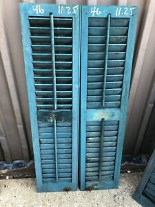 "PaiR c1890 gorgeous blue green louvered house shutters 46"" x 11.25"" x 1 1/8"""