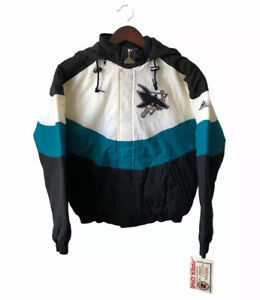 vintage san jose sharks apex one jacket coat youth size large deadstock NWT 90s