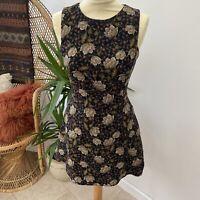 Pretty Zara Dress William Morris Style Floral Pattern Mini Fit n Flare Sz S 8 10