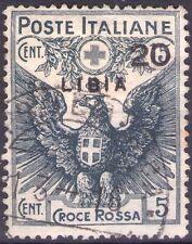 LIBIA ITALIANA - CROCE ROSSA - RARO FRANCOBOLLO DA CENT. 20 SU 15 + 5 - 1915