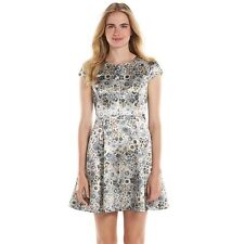 LC LAUREN CONRAD Women's Floral Satin Cut-Out Back Fit & Flare Dress Size 2