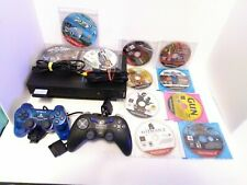 PS2 Console 2 Controllers Network Adapter Memory Card Cords & 11 Game Bundle!
