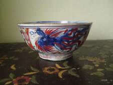 18thc Chinese Phoenix Bowl Dutch Decorated 'Amsterdams Bont' Clobbered Porcelain