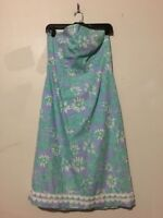 Lilly Pulitzer Size 10 Teal Lavender Floral Lined Dress Formal Women 100% Cotton