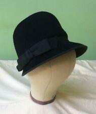50s Vintage Hat. Black Wool Cloche. Goodwood