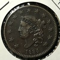 1834 CORONET HEAD LARGE CENT HIGH GRADE COIN