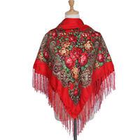 AUTHENTIQUE Foulard Châle Russe en coton Rouge avec frange