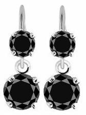 4.0 TCW BLACK MOISSANITE Silver Drop/Dangling HOOK Earrings