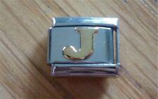Italian Charms Gold Letters Letter J  Fits Classic Size Italian Charm Bracelet