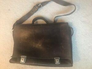 Village Tannery Dark Brown Leather Messenger Bag Briefcase Laptop Tote