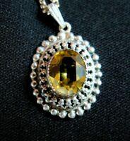 Vintage Danecraft 835 Silver Pendant Necklace Yellow Stone Norway