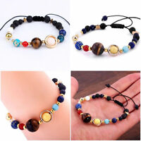 Solar System Galaxy Space Eight Planets Stone Braided Bead Bracelet Jewelry Gift