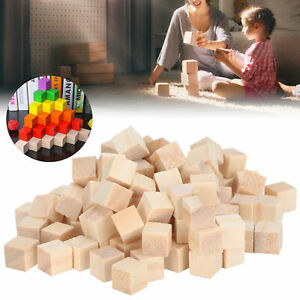 100Pcs Wooden Cubes Pine Blank Blocks For DIY Craft Childhood Puzzle Toy
