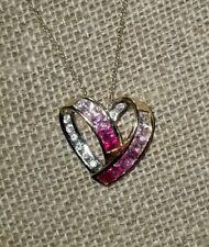 $550 Designer 10k Yellow gold pink sapphire-diamond-topaz heart pendant Necklace