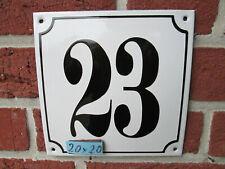 Hausnummer Mega Groß  Emaille Nr 23 schwarze Zahl weißer Hintergrund 20cmx20 cm