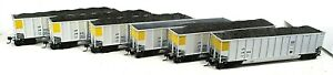 SIX UNION PACIFIC BETHGON COAL HOPPERS WITH LOADS-HO SCALE-WALTHERS.....