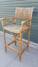 Rawhide Strap Outdoor Bamboo Barstool Rattan Cane Armchair