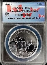 2011 Silver  .9999 Canadian Wildlife Grizzly Coin ANACS First Release MS70 RARE!