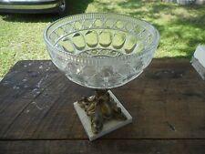 Vintage Italian Marble Base Fruit Bowl Centerpiece Crystal Dolphin Head Base