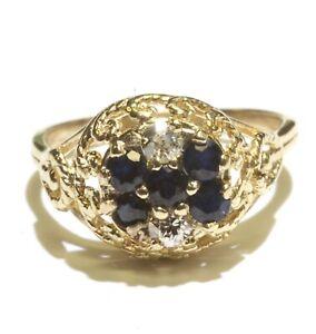 14k yellow gold .20ct SI1 H diamond sapphire Filigree womens ring 3g vintage