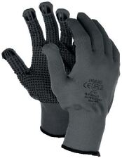 Size 9 L 12 Pairs Polyco Matrix D Grip Grey Work Gloves With Grip PVC Dot Palm