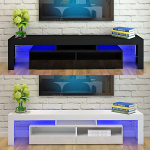 TV Stand Entertainment Center Console High Gloss Cabinet Unit w/ RGB LED Lights