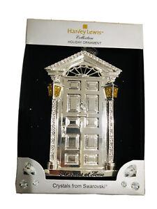 Harvey Lewis Silver Home Door Swarovski Crystals Holiday Christmas Ornament