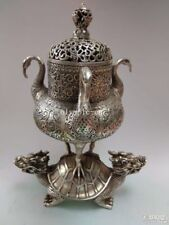 11''bronze silver-plated carved flowers three crane on both Dragon Turtle censer