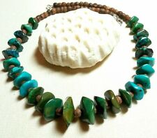 STATEMENT TRI-COLOR TURQUOISE, WOOD STERLING SILVER NECKLACE - QUALITY!
