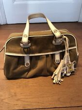 Celine Vintage Canvas And Leather Top Handle Bag/ Genuine/ Chocolate and Cream