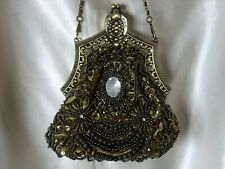 VINTAGE LOOK OLIVE FULLY HAND-SEWN BEADED SATIN EVENING PURSE/HANDBAG/CLUTCH