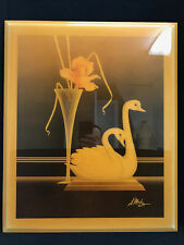1970's Decade A. Metz Pair of Swans Swimming Artist Picture with Lacquer Finish