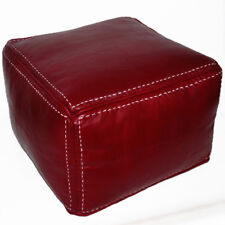 Moroccan Real Leather Seat Cushion Stool Handmade Carre Red with Stitching