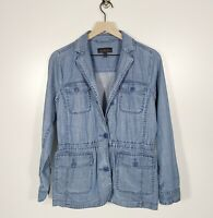 Talbots Size Small Chambray Lightweight Jacket Lyocell Linen Button Front
