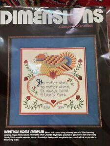 Vintage 1984 Dimensions Stamped Cross Stitch HERITAGE HOME SAMPLER