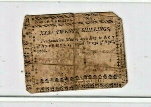 """20 SHILLINGS """"COLONIAL CURRENCY"""" 1761  (20 SHILLINGS) """"COLONIAL"""" NORTH CAROLINA!"""