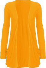 New Womens Plus Size Casual Jersey Pocket Long Sleeve Boyfriend Cardigan Top8-26
