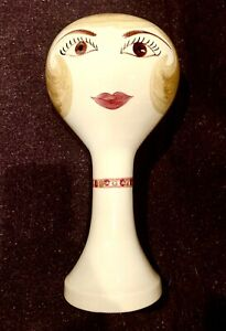 Vintage 1960's Stangl Art Pottery Mannequin Women Face Wig Hat Stand Figurine
