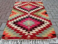 "Vintage Turkish Door Mat Antalya Small Kilim Bath Mat Floor Carpet 38,5""X53,5"""
