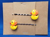RUBBER DUCK GIRL Toy Handmade Bobby PIn Hair clips - Set of 2 SALE