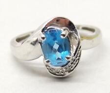 14K White Gold Swiss Blue Topaz Ring Sz 6.75 Diamond Accent Stone Estate Signed