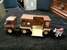 "Vintage BUDDY L Farms Japan Brown Pressed Steel Truck & Transporter w/ Cow 6"""