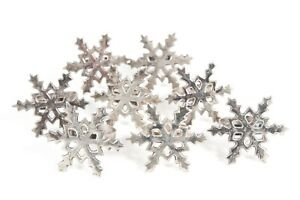 Set 8 Christmas Holiday Silverplate VNTG Napkin Rings Holders Snowflake Design