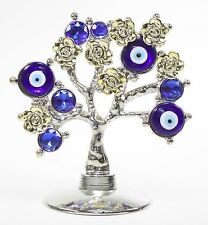 Turkish Blue Evil Eye Gold Flowers Money Fortune Tree Protection Good Luck Gift