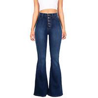 Women High Waist Bell Bottom Boot Cut Jeans Denim Flared Long Pants Trousers