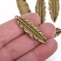 10 Bronze FEATHER Charms, Metal charms, 41mm, chb0505